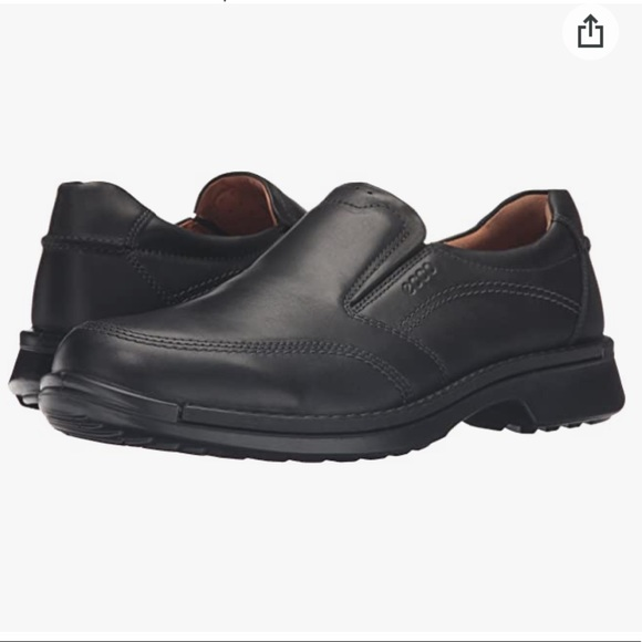 ECCO Fusion II Slip On Black Leather Loafers 11